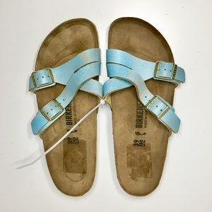 Birkenstock Yao Slide on Sandals Suede Blue 39